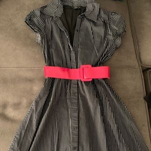 Dresses & Skirts - Black & White Striped Red Belted Dress